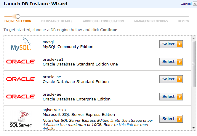 [Amazon RDS] Launch DB Instance Wizard